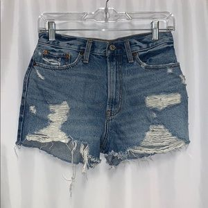 Ripped hi-rise jean shorts